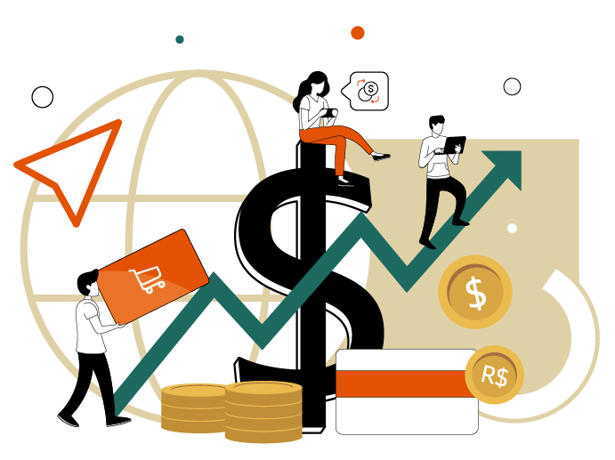 Illustrations about e-commerce and online consumers.
